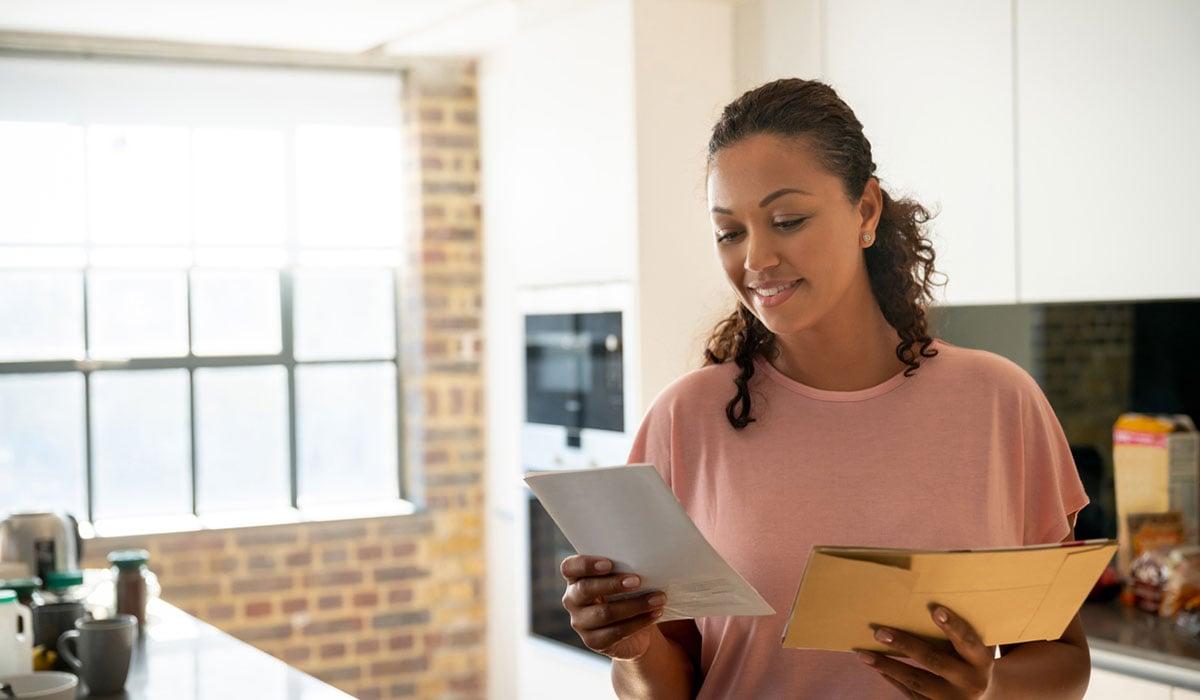 Woman looking at mail